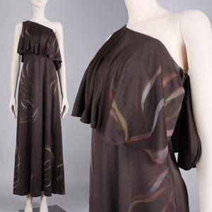 M Vintage 70s One Shoulder Maxi Dress